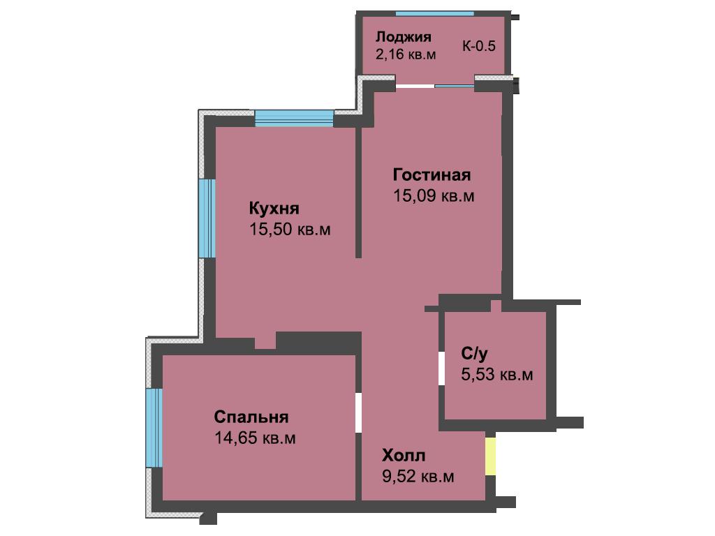2-к квартира, ул. Красносельская 58, 62.45 м², 4/6 эт. - Фотография 1