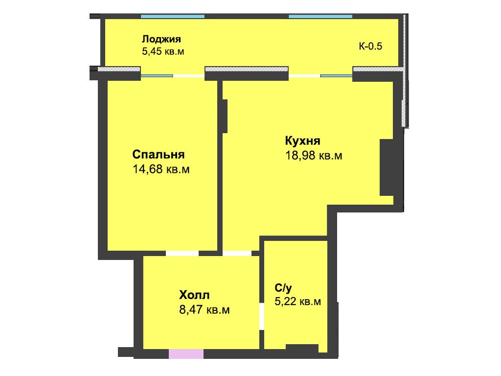1-к квартира, ул. Красносельская 58, 52.78 м², 4/6 эт.