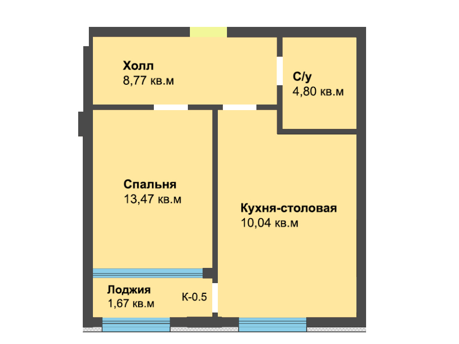 1-к квартира, ул. Красносельская 58, 47.4 м², 3/6 эт. - Фотография 1