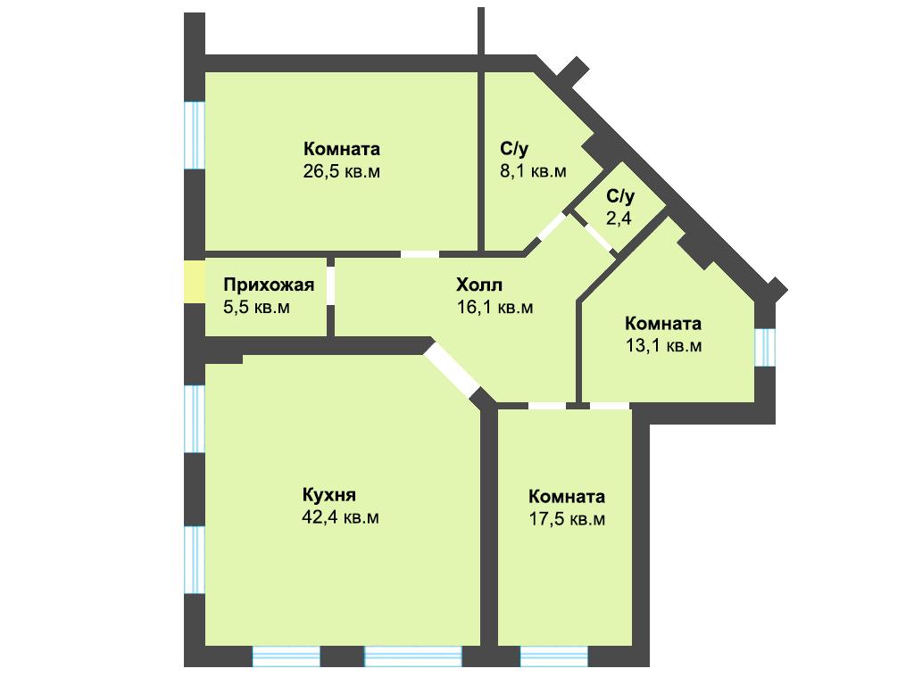 3-к квартира, ул. Энгельса 59а, 131.6 м², 1/3 эт. - Фотография 1