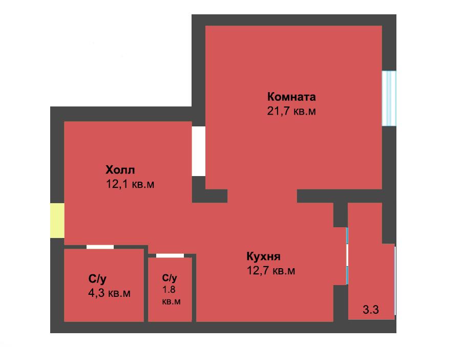 1-к квартира, ул. Лесопарковая 39а, 54.3 м², 4/4 эт.
