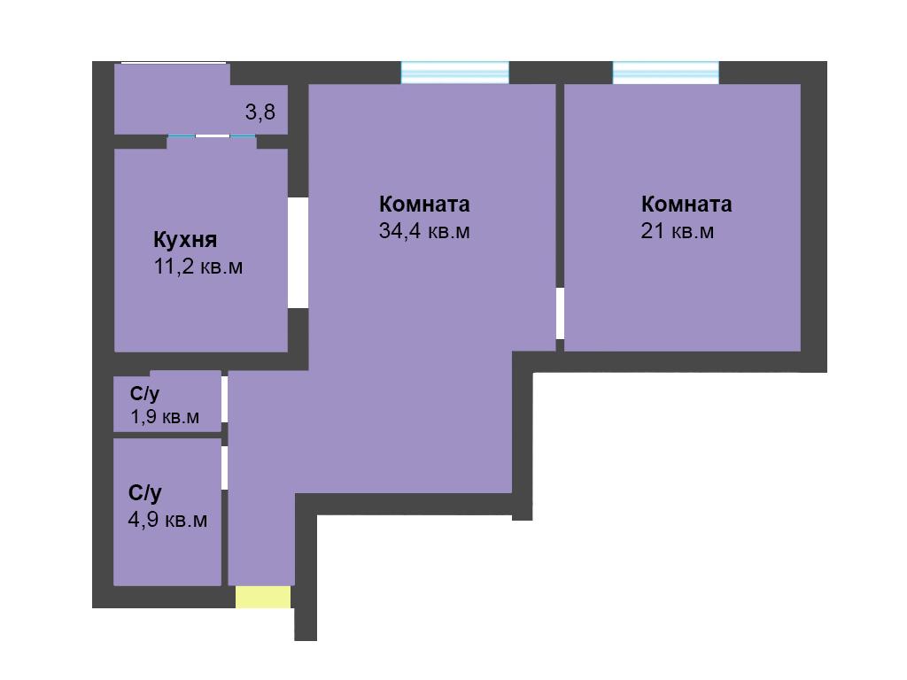 2-к квартира, ул. Лесопарковая 39а, 75.3 м², 4/4 эт.