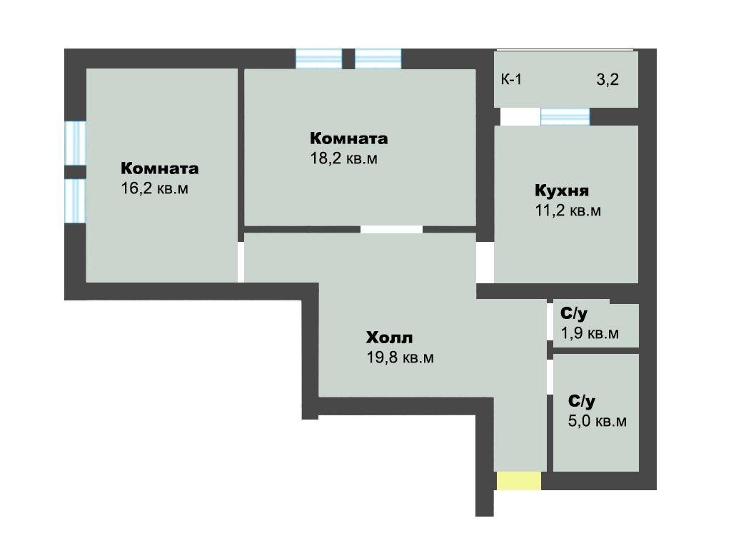 2-к квартира, ул. Лесопарковая 39а, 75.5 м², 2/4 эт.