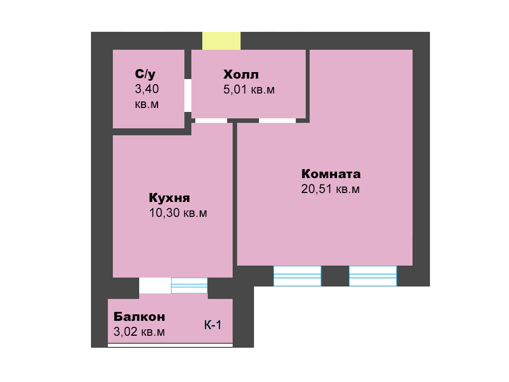 1-к квартира, ул. Орудийная, 42.24 м², 4/5 эт., 2п.