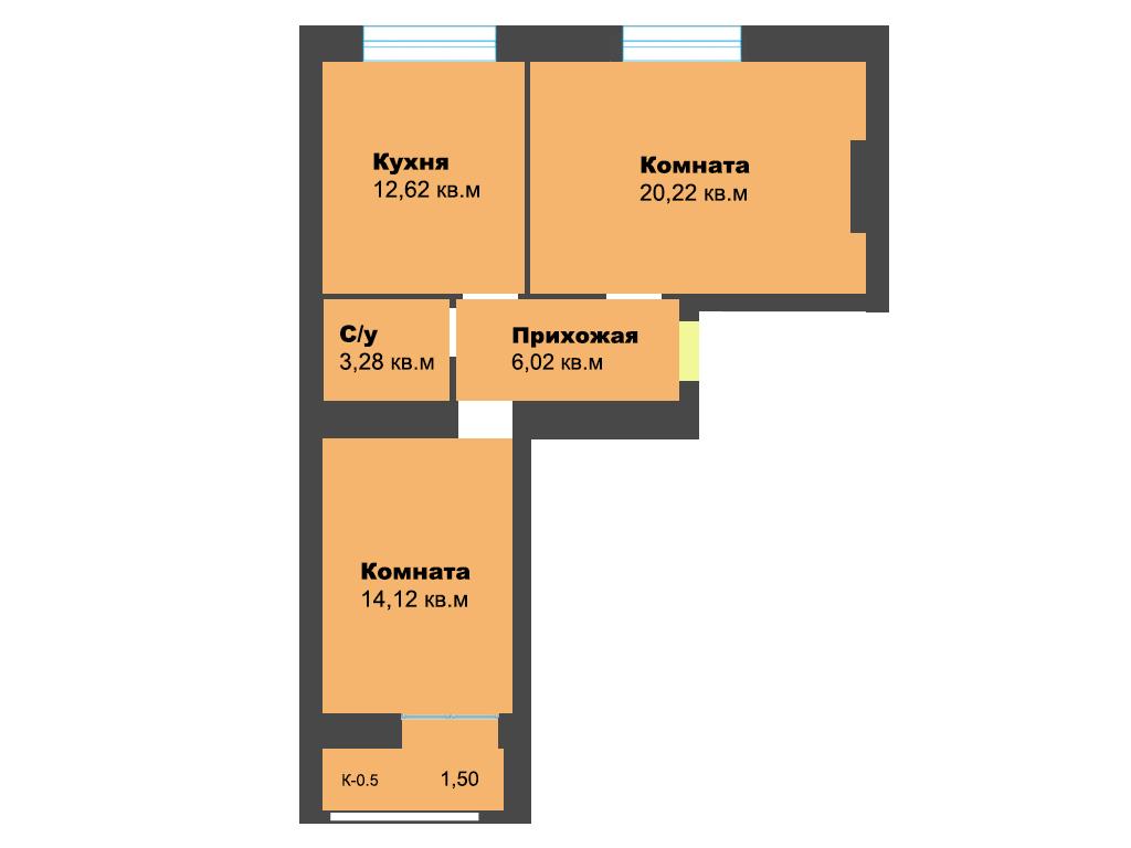2-к квартира, ул. Ген.Толстикова (дом 5), 59.25 м², 2/10 эт.