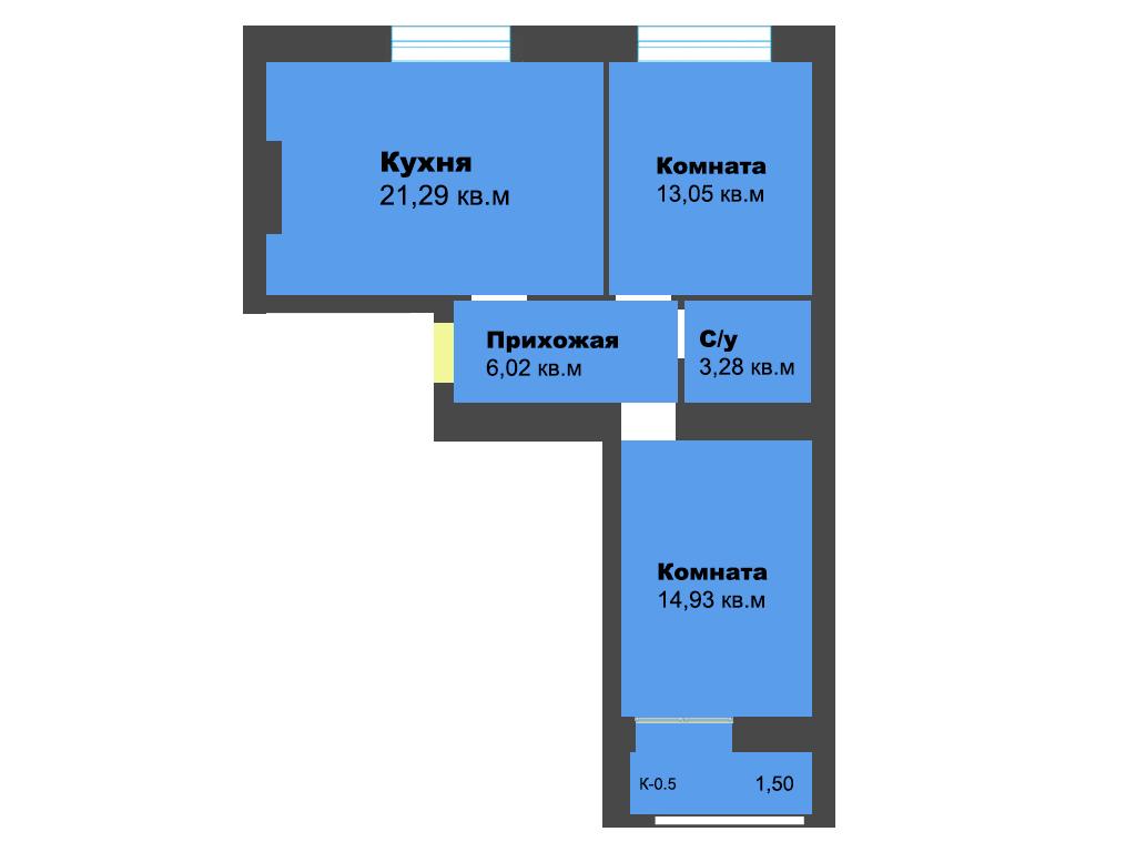 2-к квартира, ул. Ген.Толстикова (дом 5), 61.56 м², 3/10 эт.