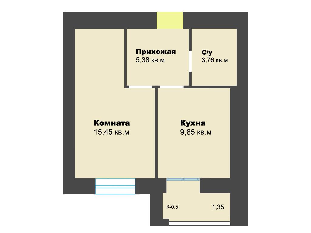 1-к квартира, ул. Ген.Толстикова (дом 5), 37.13 м², 6/10 эт.