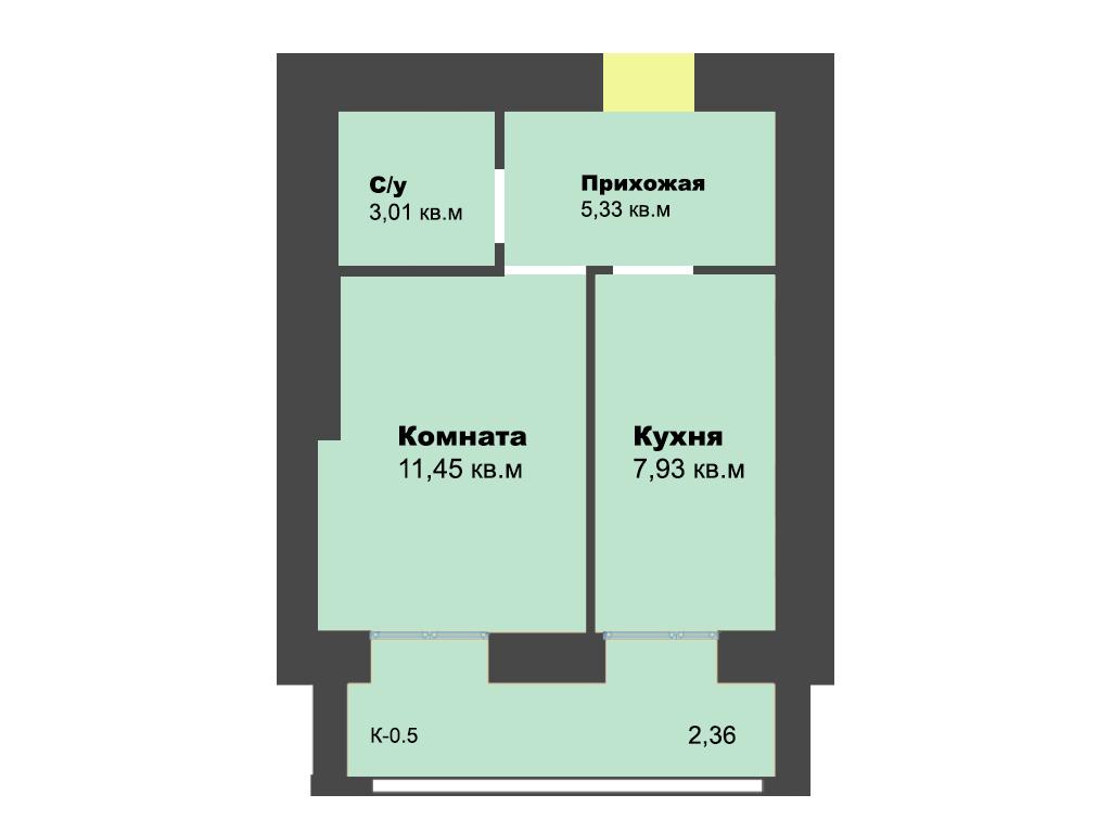 1-к квартира, ул. Ген.Толстикова (дом 5), 32.43 м², 4/10 эт.