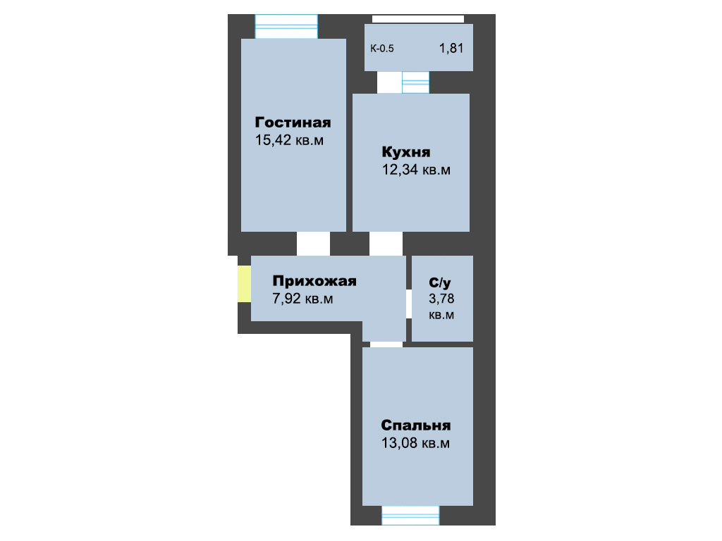 2-к квартира, ул. Карамзина (дом 5, этап 2), 54.40 м², 9/10 эт. - Фотография 1