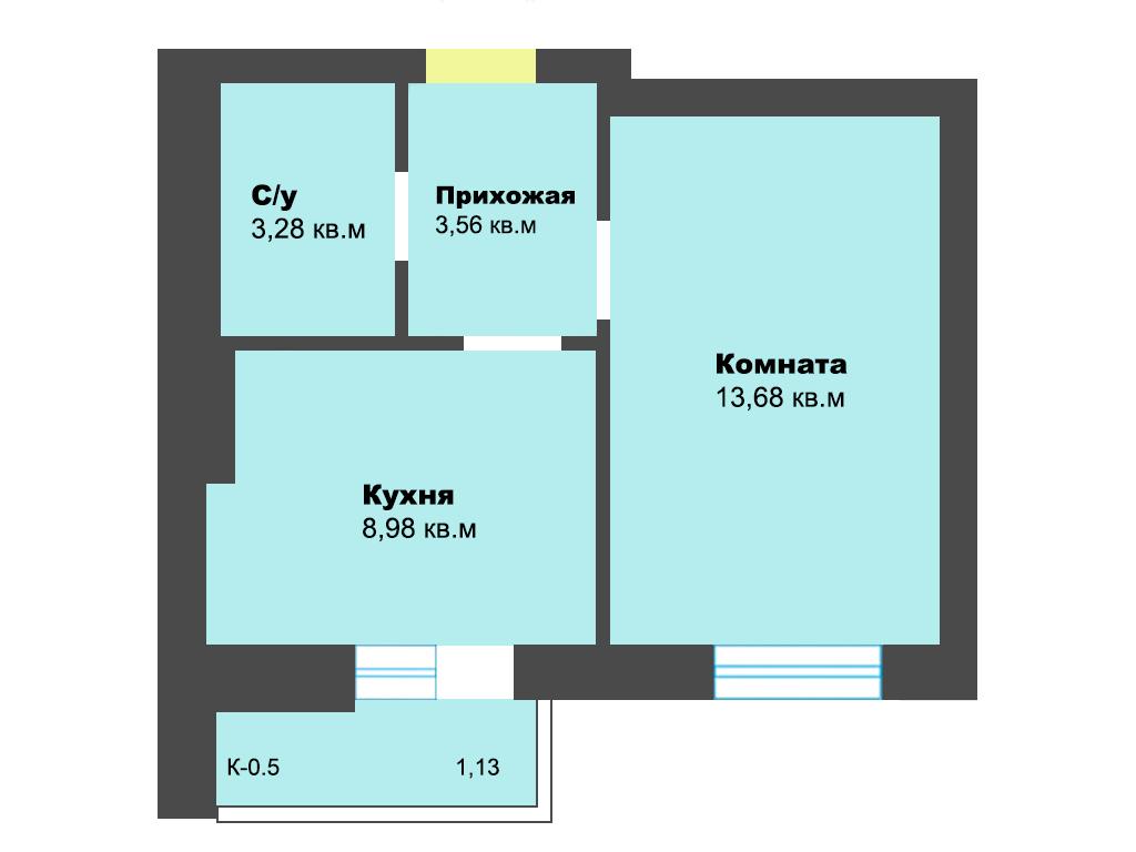 1-к квартира, ул. Карамзина (дом 5, этап 2), 31.76 м², 9/10 эт. - Фотография 1