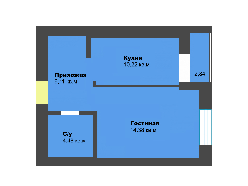 1-к квартира, пос. Васильково, ул. Калининградская 5, 36.61 м², 1/12 эт., 3с.