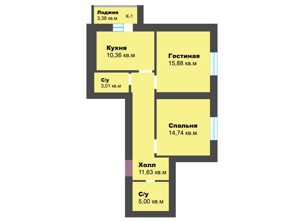 2-к квартира, пос. Васильково, ул. Калининградская, стр. 3, 62.31 м², 11/12 эт., 3с.