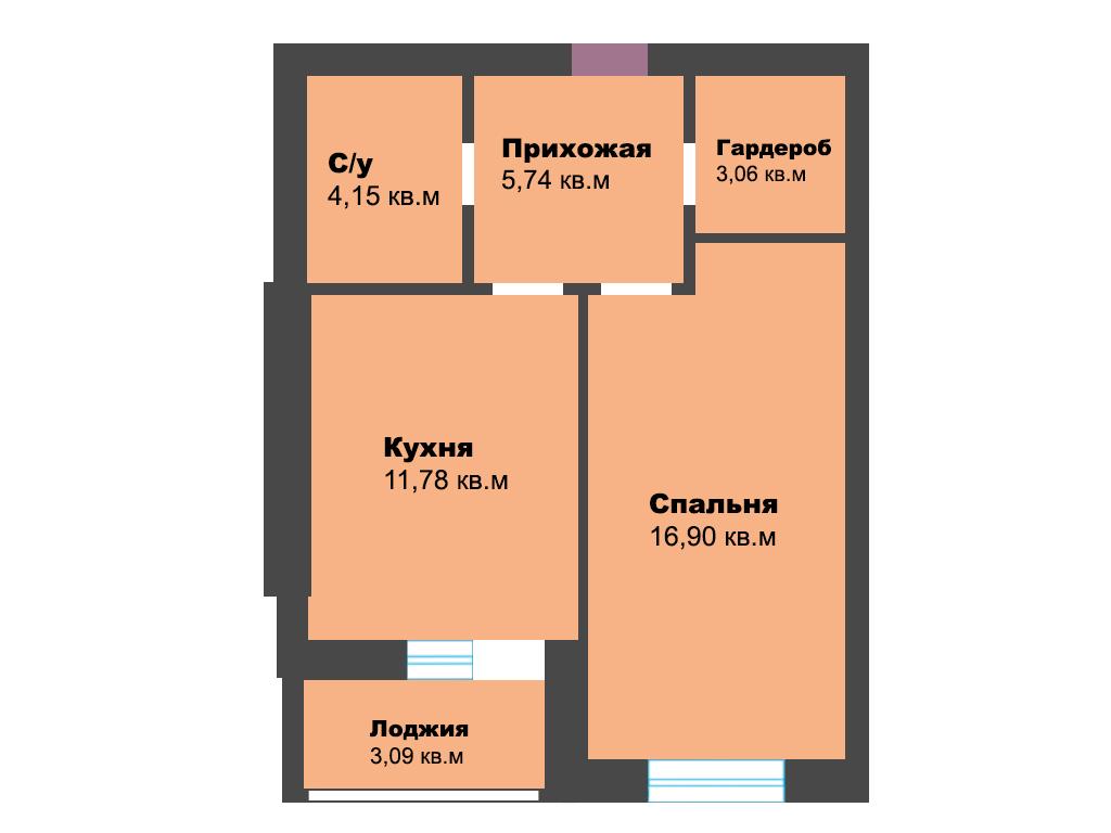1-к квартира, г. Зеленоградск, ул. Октябрьская, 23, 44.72 м², 2/5 эт., 3с. - Фотография 1