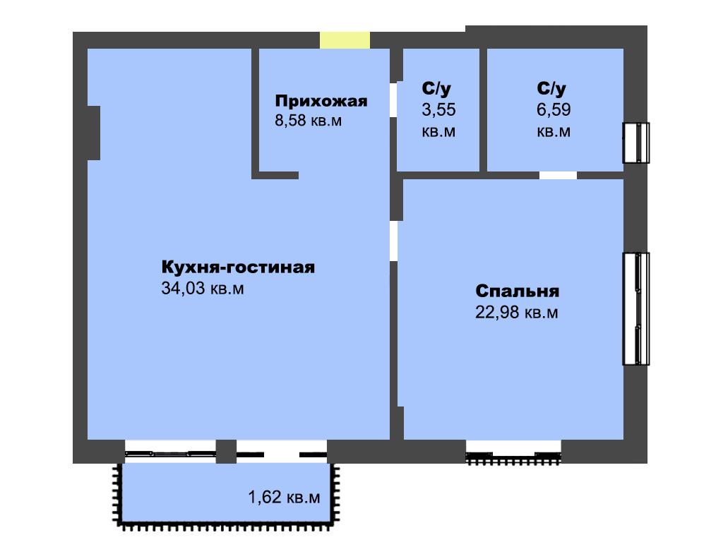 2-к квартира, ул Огарева 3-5, 81.27 м², 3/4 эт., кв.15 - Фотография 1