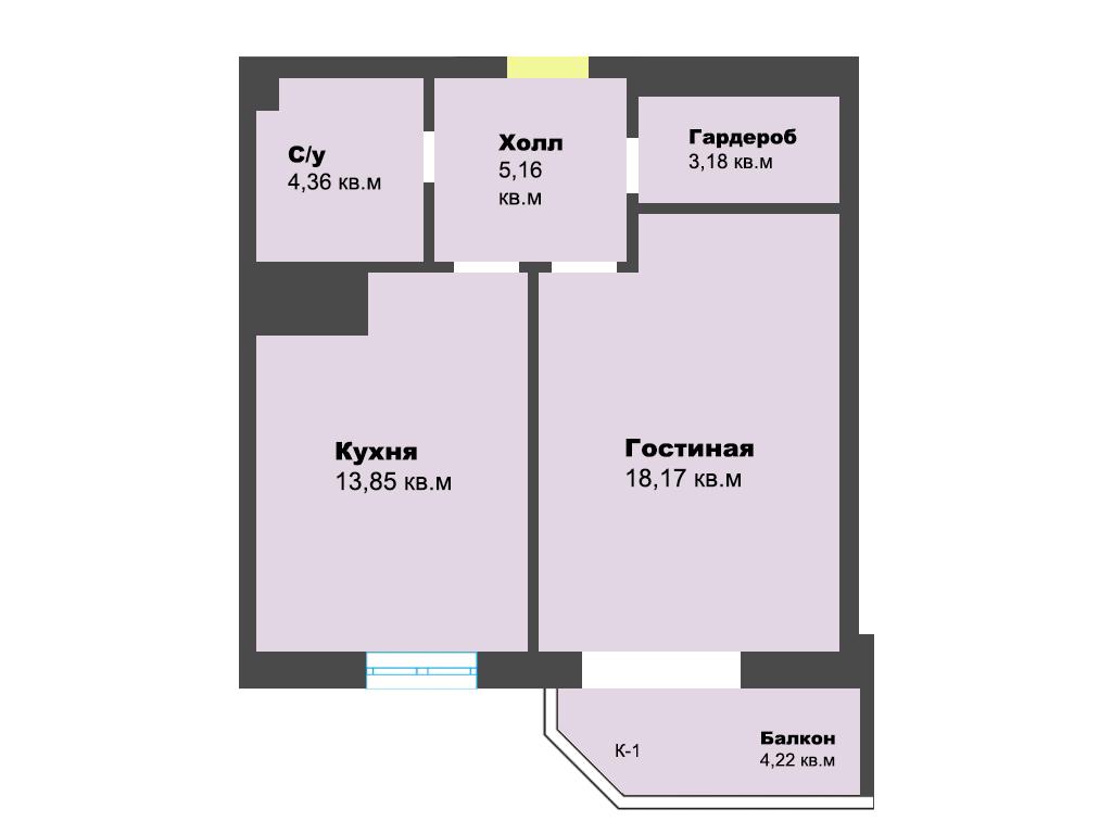 1-к квартира, ул. К. Леонова 49а, 48.94 м², 3/12 эт.,4с.