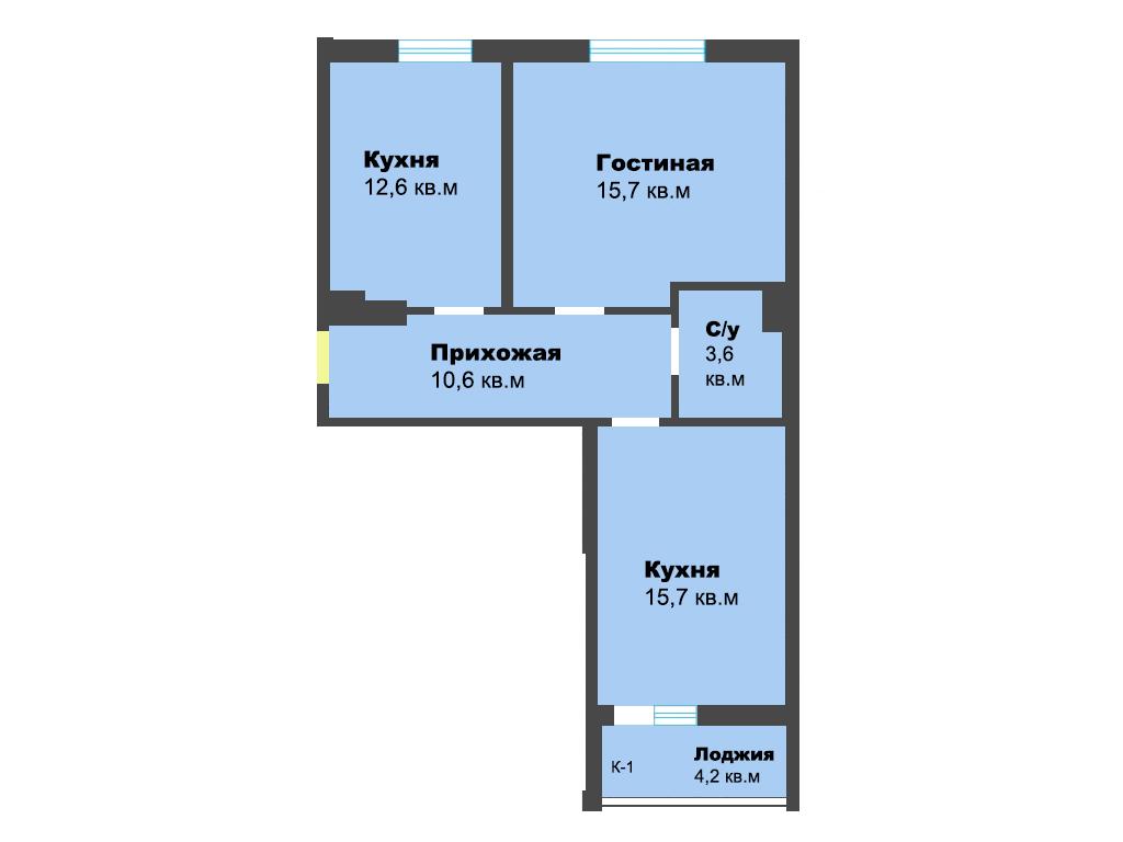 2-к квартира, мкр. А. Космодемьянского, ул. Лужская, 23б, к1, 66.4 м², 7/9 эт., 1с.