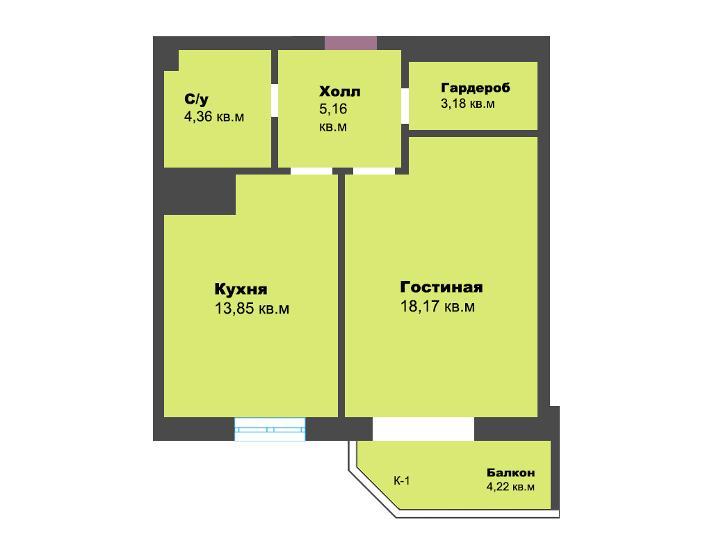 1-к квартира, ул. К. Леонова 49а, 48.94 м², 5/12 эт.,4с.