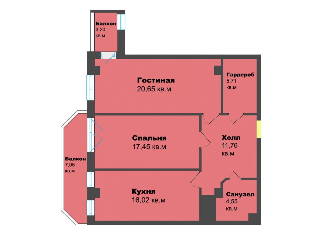 2-к квартира, ул. К. Леонова 49а, 86.39 м², 7/12 эт.,4с.