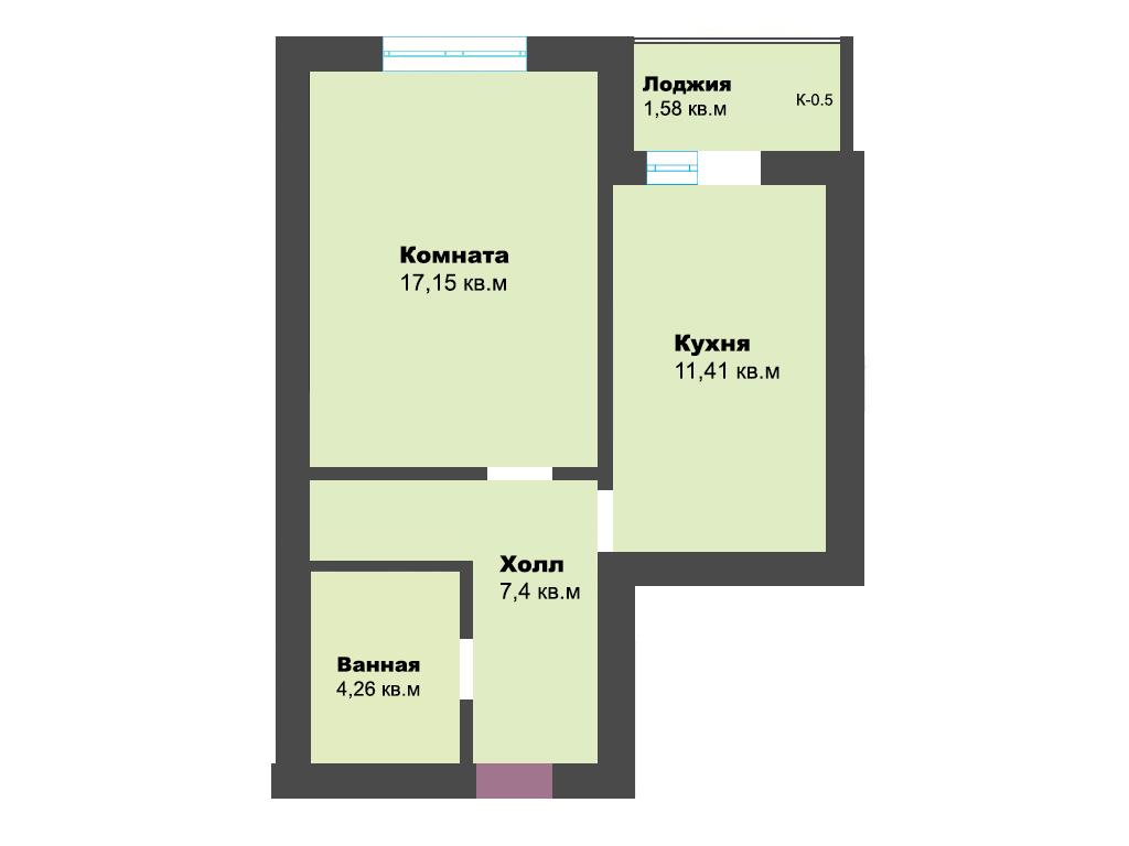 1-к квартира, пер. Железнодорожный, стр. 1, 41.80 м², 1/4 эт.