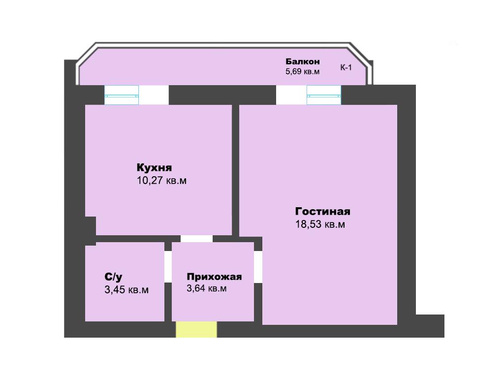 1-к квартира, ул. Крайняя, 41.58 м², 7/7 эт., 1 по ГП
