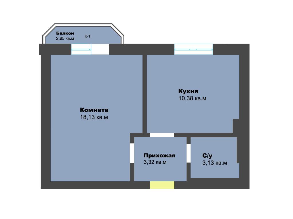1-к квартира, ул. Крайняя, 37.81 м², 4/7 эт., 2 по ГП - Фотография 1