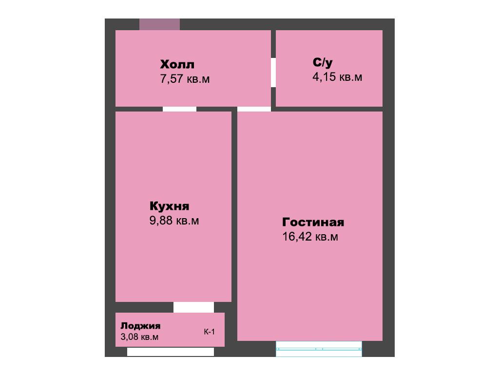 1-к квартира, ул. Окружная, 41.1 м², 6/9 эт., 3 по ГП - Фотография 1