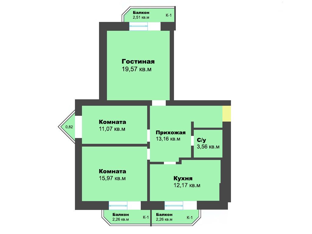 3-к квартира, ул. Крайняя, 83.35 м², 5/7 эт., 4 по ГП