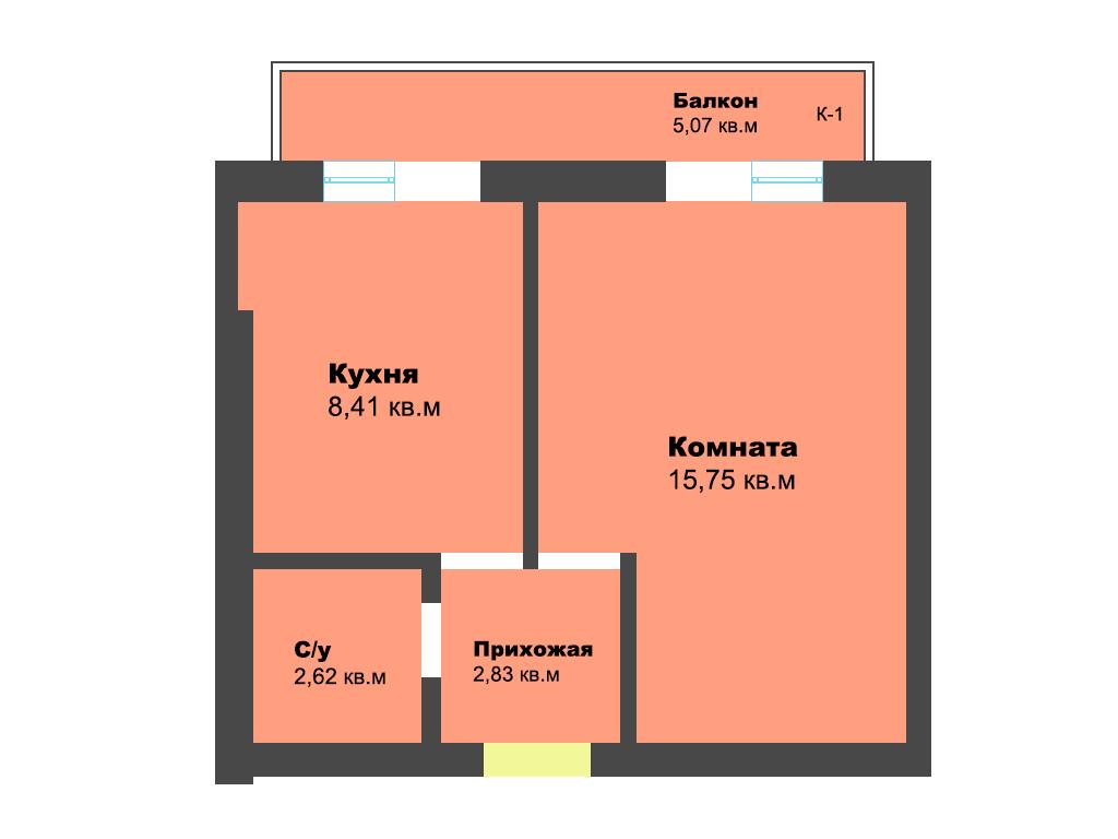 1-к квартира, ул. Суворова 35, 34.68 м², 4/12 эт., 3с. - Фотография 1