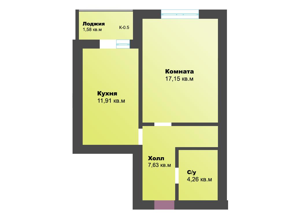 1-к квартира, пер. Железнодорожный, стр. 1, 42.31 м², 1/4 эт.